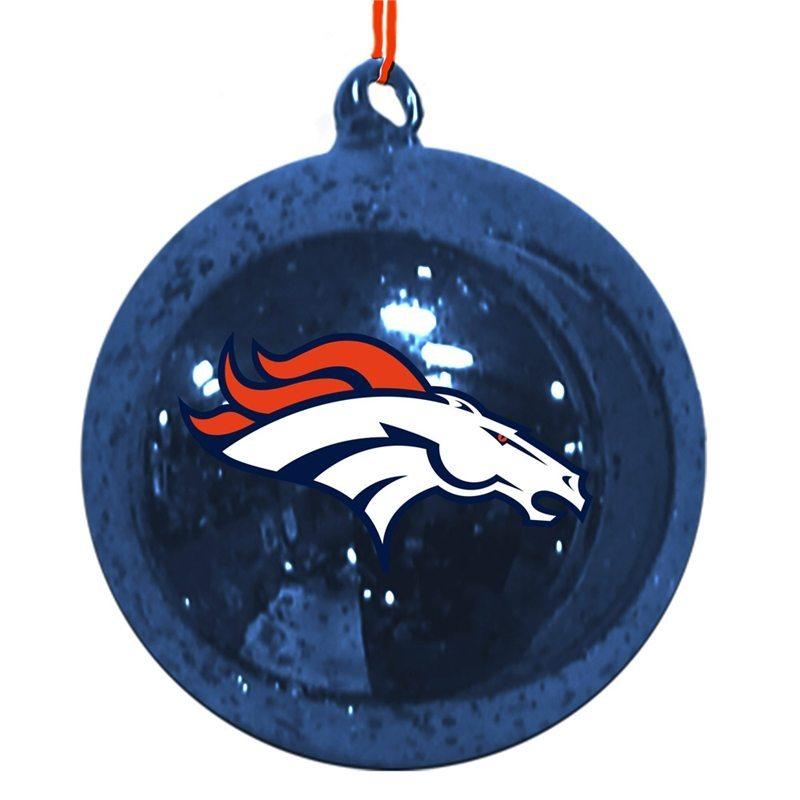 omi439 denver broncos mercury glass ball ornament
