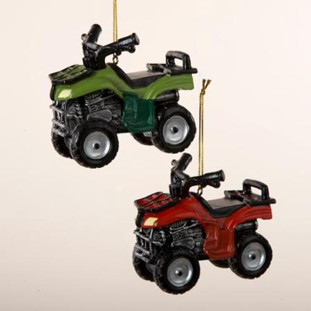 red and green atv all terrain vehicle ornament