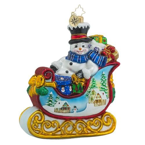 christopher radko snowy gift sleigh ride ornament