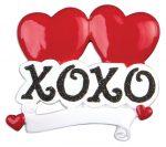 xoxo hugs and kisses heart ornament