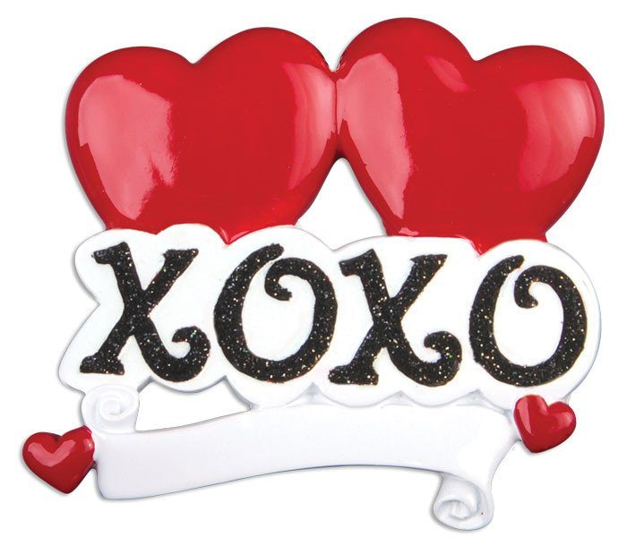 xoxo hugs and kisses heart ornament