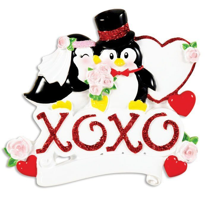 xoxo penguin wedding couple ornament