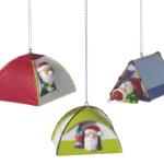 santa camping in tent ornament