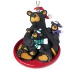 obf013 bearfoot bear saucer sled black bears ornament