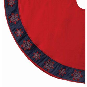 54 Inch Red Snowflake Denim Tree Skirt