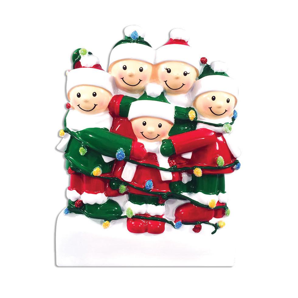 Family of 5 Tangled In Christmas Lights Personalized Ornament ...