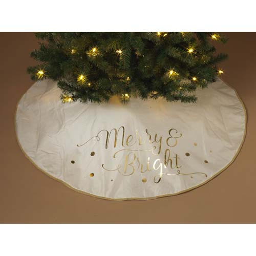 48 Inch Merry And Bright White Gold Tree Skirt