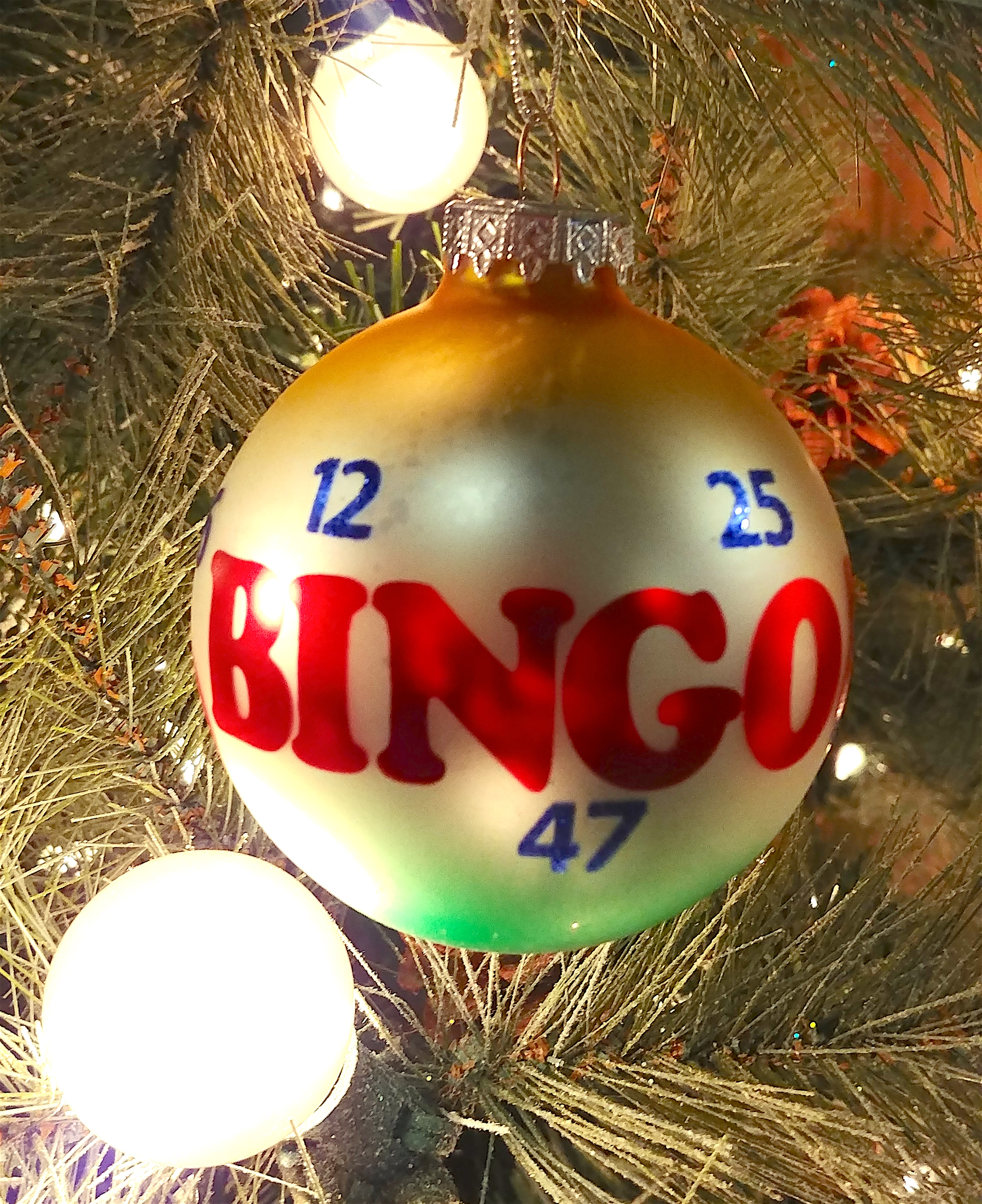 Bingo Glass Ball Ornament - Christmas Store
