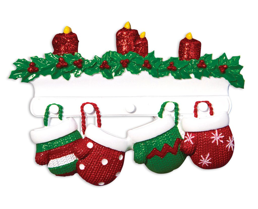 Family of 4 mittens on mantle ornament christmas store for Family of 4 christmas ornament