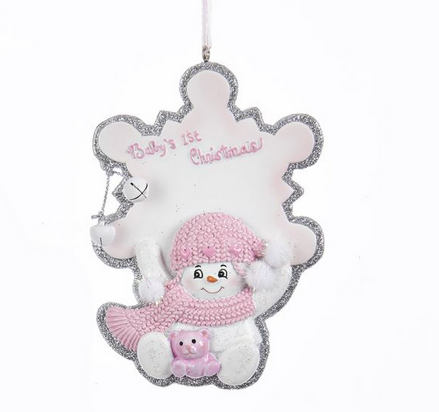 Baby Girl First Christmas Pink Snowflake Snowbaby Ornament ...