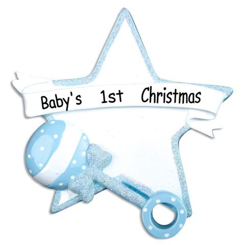 boys first christmas rattle ornament baby - Baby Boy First Christmas Ornament