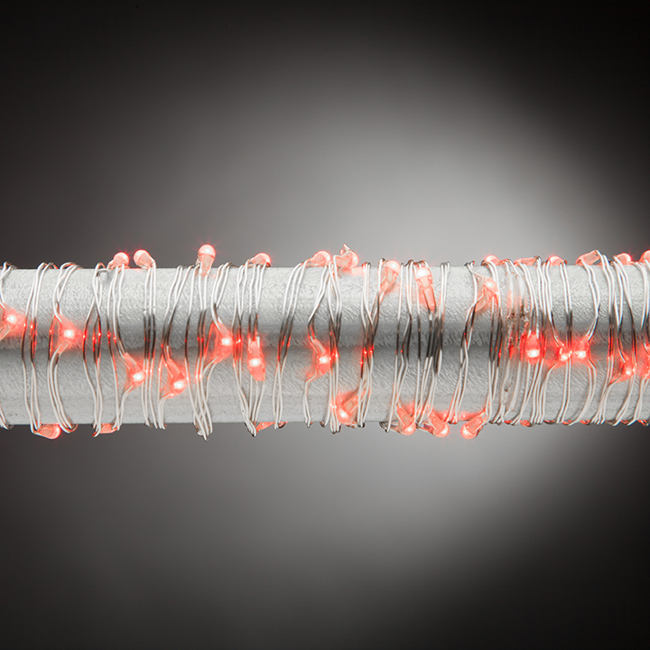 Battery Operated 3 Foot Red Micro LED Lights with Silver Wire ...