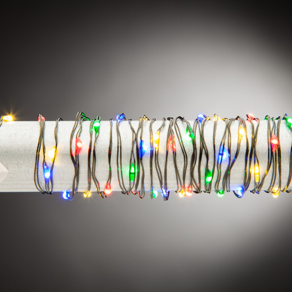 Battery Operated 10 Foot Multi Color Micro LED Lights with Green ...