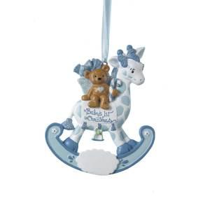 babys first christmas giraffe rocker ornament - Baby Boy First Christmas Ornament