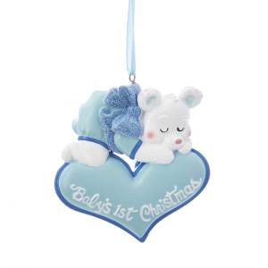 babys first christmas sleeping bear ornament - Baby Boy First Christmas Ornament