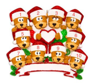 46a65456386 Family of 10 Brown Bears with Heart Ornament