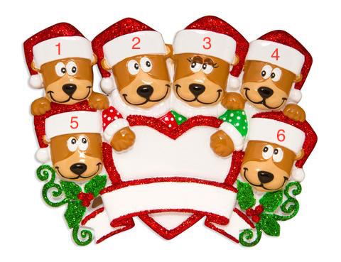 Family Of 6 Brown Bears With Heart Ornament