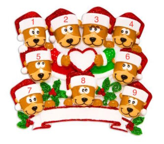 309b0a9126cfa Family of 9 Brown Bears with Heart Ornament