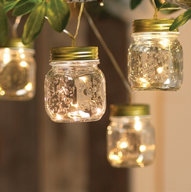 Set of 7 mason jars with 28 battery operated white led lights with battery operated workwithnaturefo