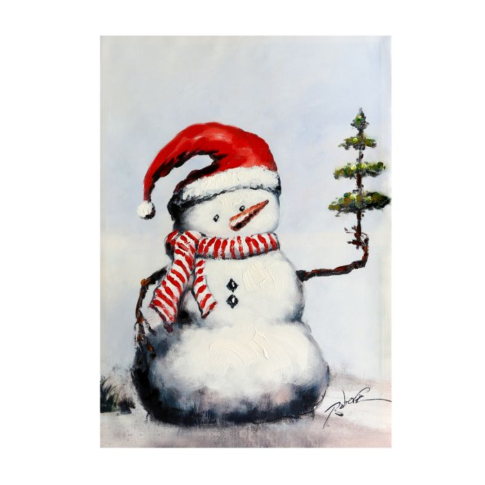 Snowman In Santa Hat With Little Tree Oil Painting Christmas Store