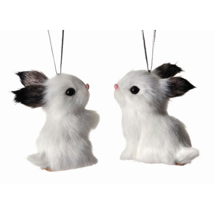 Black and White Faux Fur Bunny Rabbit Ornaments - Christmas Store