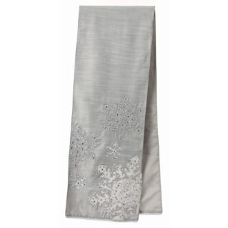 Charmant 72 Inch Silver Beaded Snowflake Table Runner