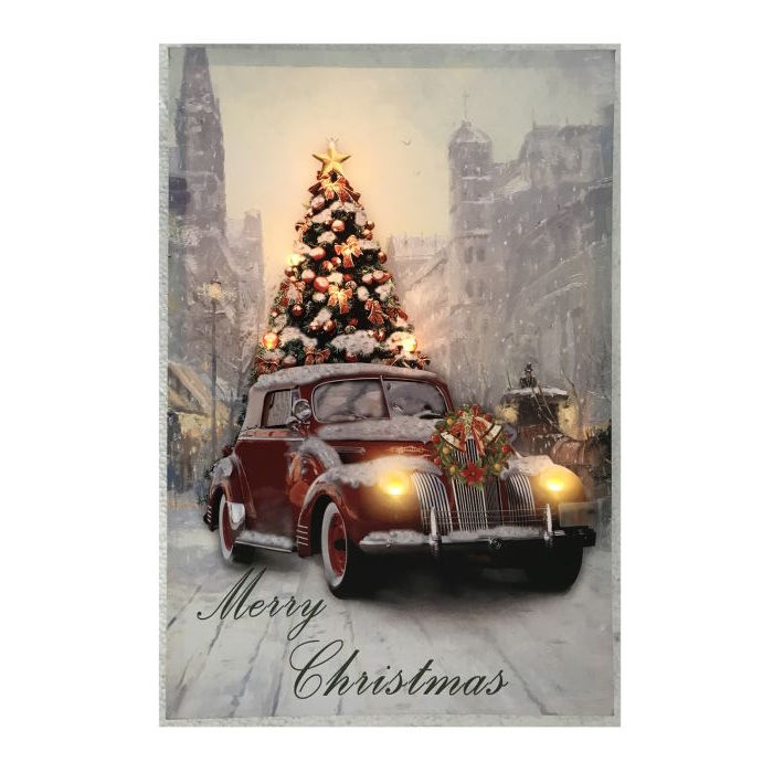 Merry Christmas Vintage Car With Tree Picture Home Decor