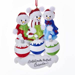 snow sisters make the best friends snowman ornament