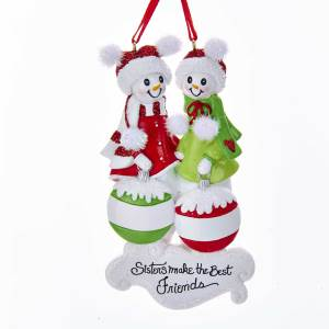snow sisters make the best friends ornament