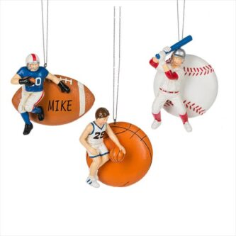 sports ball and player ornament baseball basketball christmas