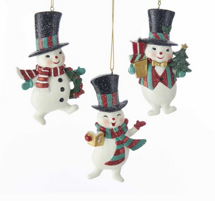 Red And Green Glitter Vintage Snowman Ornaments