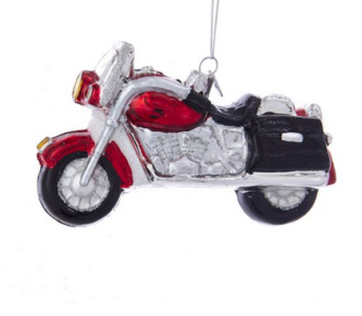 glass red and silver motorcycle ornament christmas ornaments