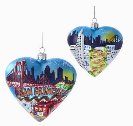 Christmas Ornaments ... - San Francisco Glass Heart Ornament - Christmas Store