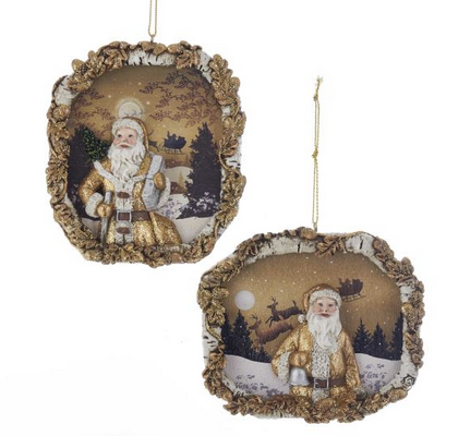 Winter Woods Gold Santa Frame Ornaments - Christmas Store
