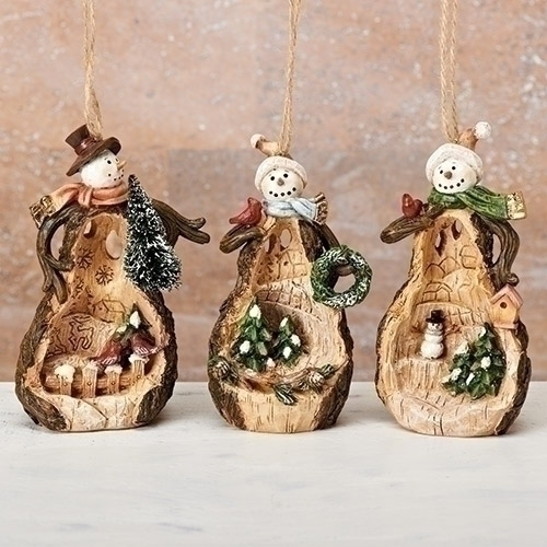 Christmas Ornaments ... - Wood Like Snowmen Ornaments With Carved Scenes - Christmas Store