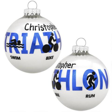 Christmas Ornaments ... - Triathlon Glass Ball Ornament - Christmas Store