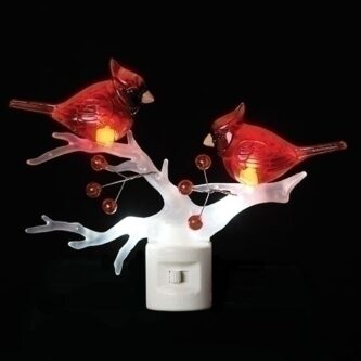 cardinals on branch night light christmas lights