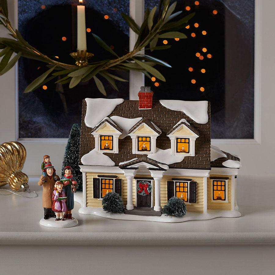 snow village welcoming christmas gift set buildings