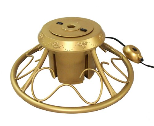 Rotating Christmas Tree Stand.Deluxe Gold Rotating Tree Stand