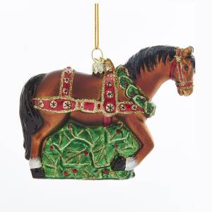 Western Horse Glass Ornament