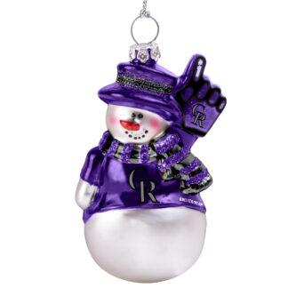 colorado rockies glitter snowman ornament