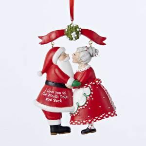 Santa and Mrs. Claus Kissing Under the Mistletoe Ornament 6d26129b35de