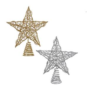 Gold And Silver Wire Star Tree Topper
