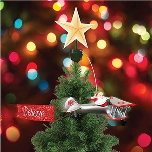 animated santa in biplane tree topper