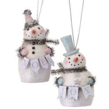 vintage pastel colored joy or noel snowman ornament - Noel Christmas Store