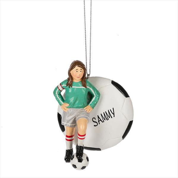 Christmas Ornaments, Personalized Ornaments, Personalized Sports, Soccer,  Sports - Soccer Girl With Soccer Ball Ornament - Christmas Store