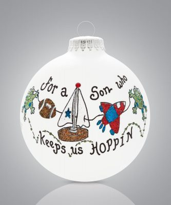 """Keeps Us Hoppin'"" Son Glass Ball Ornament · Christmas Ornaments ..."