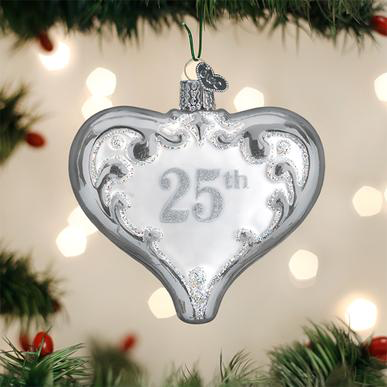 Roman Christmas Ornaments.Old World Christmas Blown Glass 25th Anniversary Heart Ornament