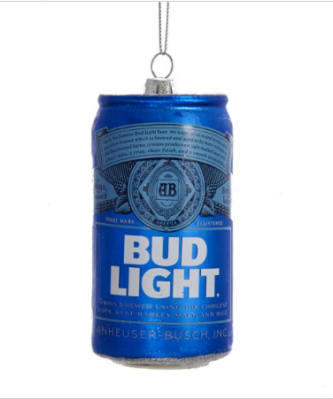 Glass Bud Light Can Ornament