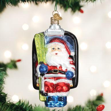 Old World Christmas Blown Glass Santa On Ski Lift Ornament